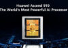 Huawei lance son processeur Ascend 910 pour l'intelligence artificielle