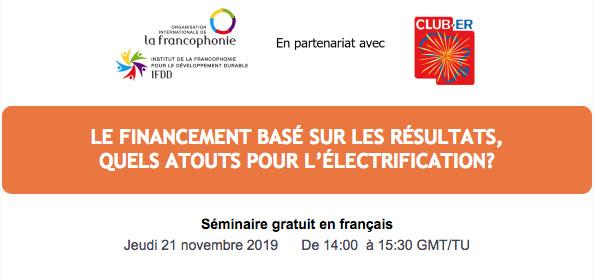 Séminaire en ligne : le financement basé sur les résultats, quels atouts pour l'électrification ?