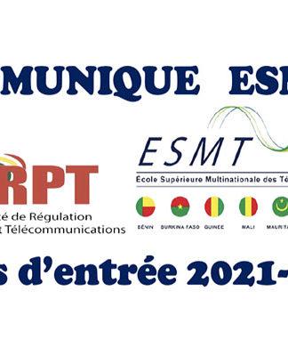Communiqué ESMT : Tests d'entrée 2021-2022